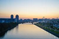 Tokyo Odaiba skyline and sunset