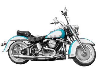 Vintage motorcycle - chopper on white