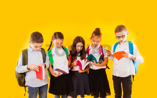 Happy excited smiling little students holding color books isolated on yellow background. Back to school.