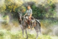 Young beautiful dreadded girl outdoors with her true horse. Painting effect.