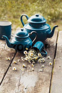 Tea composition with chamomile in vintage style