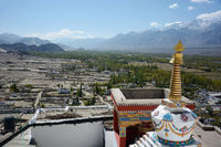 Landscape from Diskit Monastery also known as Deskit Gompa or Diskit Gompa is the oldest and largest Buddhist monastery, Nubra valley, Jammu and Kashmir, India