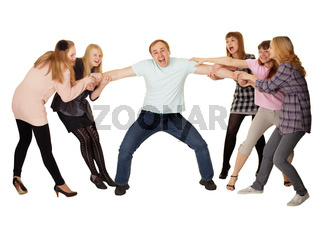Cheerful family having fun on white