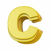 Yellow font Letter C 3D
