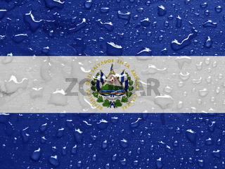flag of El Salvador with rain drops