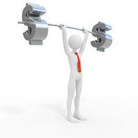 Powerful businessman lift dollar