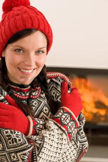 Fireplace winter Xmas young woman wear sweater