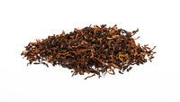 Pile of long coarse cut pipe tobacco over white