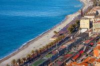 Beach Sea and Promenade in Nice City