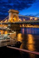 Chain Bridge in Budapest City by Night