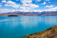 Scenic view of colourful Lake Tekapo in New Zealand