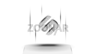 Swipe SXP token symbol of the DeFi system above the pedestal on white background. Cryptocurrency logo icon. Decentralized finance programs. Vector illustration for website or banner.