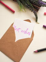 Personalized note with inscription Best Wishes in a natural color envelope