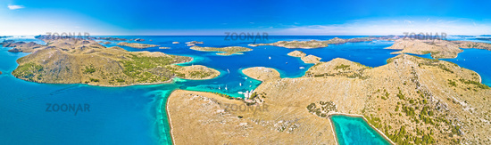 Kornati. Amazing island archipelago landscape of Kornati national park aerial panoramic view