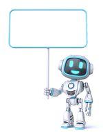 Cute blue robot hold blank board 3D