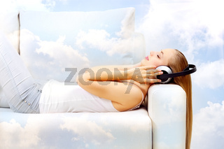 listening to music in the clouds