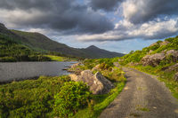 Winding country road leading trough Black Valley, Ring of Kerry