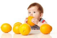 cute baby with orange