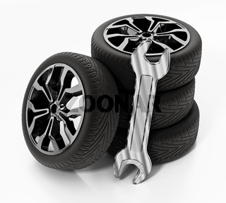 Wrench and tyres isolated on white background. 3D illustration