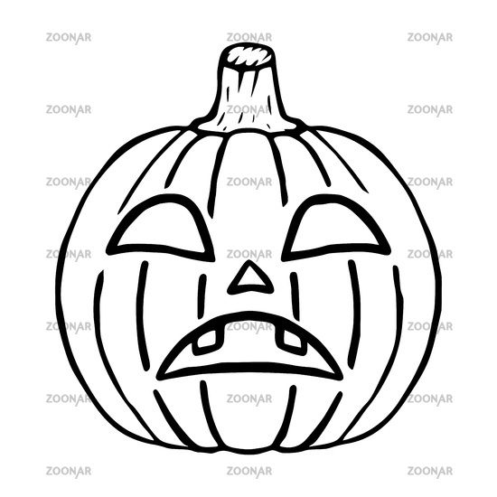 Sad Jack O Lantern doodle icon, halloween pumpkin isolated