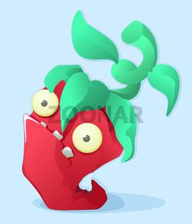 Distressed Red Pepper Cartoon