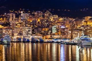Monaco Principality City Lights in Mediterranen Sea