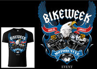 T-shirt Design for Bikers with Eagle and Engine