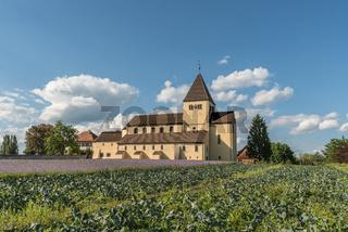 Kohlfeld und Blumenwiese vor der Kirche St. Georg auf der Insel Reichenau, Bodensee, Deutschland