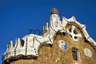 Barcelona. Catalonia. Spain. Gable of the Fairytale House, Park Güell