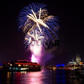 Blue fireworks over Cologne