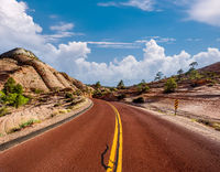 Empty scenic highway in Utah
