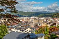 Takayama Gifu Japan, high angle view city skyline at Takayama old town with autumn foliage season