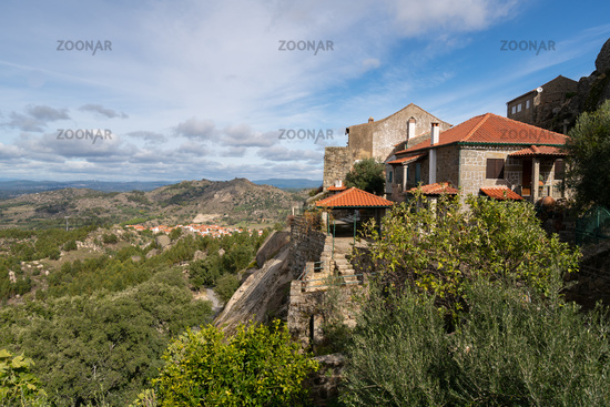 Monsanto historic village with stone houses and rooftops and landscape, in Portugal