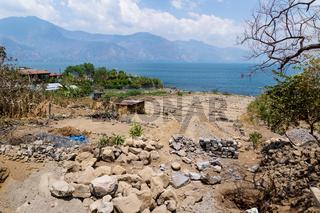 Construction of an agricultural field with terraces along the lake Atitlan, San Pedro la Laguna, Guatemala
