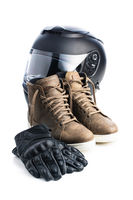 Safety motorcycle accessories. Leather gloves, helmet and shoes.