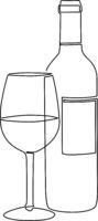 continuous single line wine bottle and wine glass