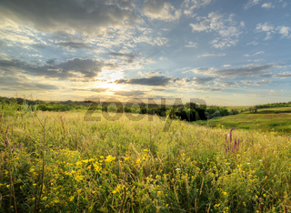 The landscape of the field with a spectacular sky