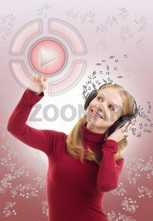 Beautiful girl listening to music