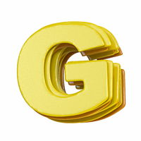 Yellow font Letter G 3D