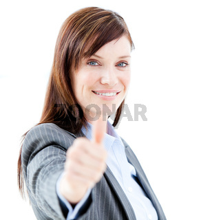 Nice businesswoman doing a thumb-up against a white background