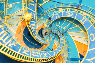 Droste effect background based on Prague astronomical clock. Abstract design for concepts related to astrology and fantasy.