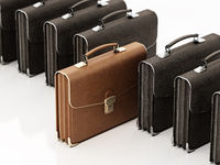 Brown leather briefcase standing out among black briefcases. Business and success concept. 3D illustration