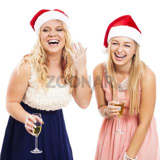 Laughing women celebrating Christmas