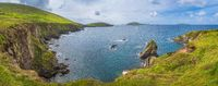 Panoramic shot of Dunquin Pier and harbour in Dingle, Wild Atlantic Way