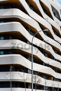 Modern luxury housing in Madrid with concrete terraces