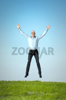 happy jumping man