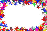 Star shaped confetti of different colors frame