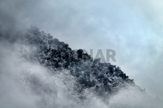 Winter in the mountains and icy fog