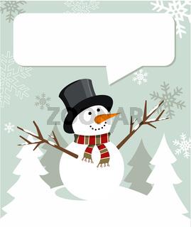 Snowman Christmas with dialogue balloon