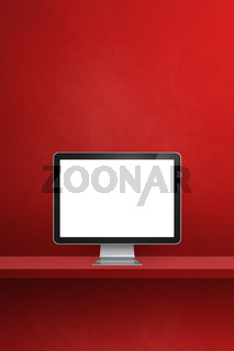 Computer pc on red shelf. Vertical background